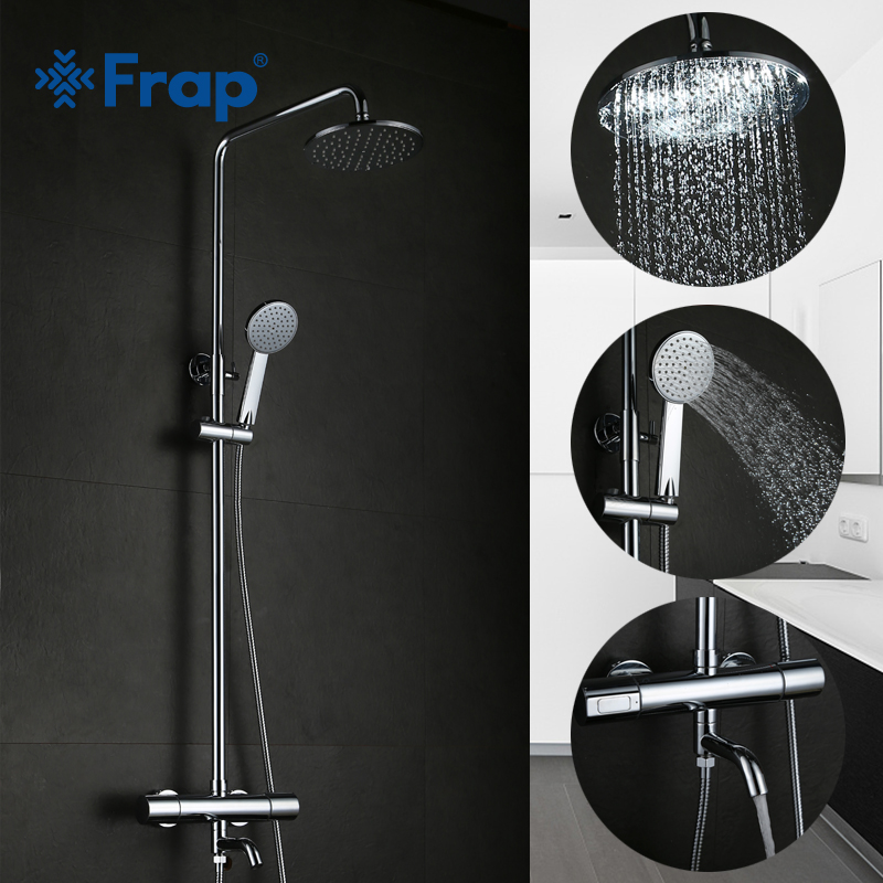 Frap bathroom Thermostatic shower Faucet set Bath bathtub Faucets Cold and Hot Water Mixer tap with Nose Double Handle GLD1193-F
