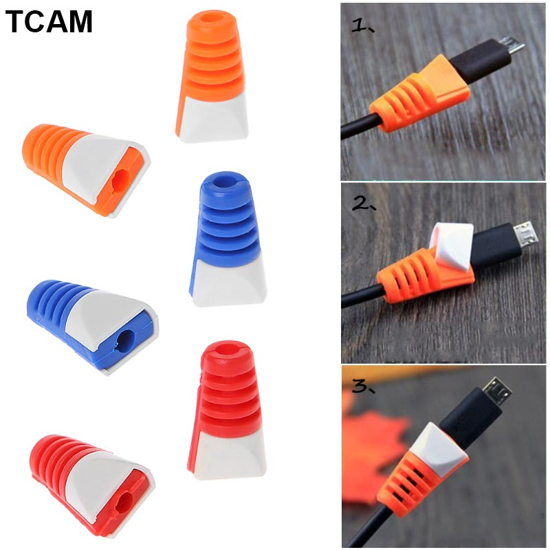 2 Pcs USB Cable Saver Cover Protector Sleeve For Smartphone Data Charging Cable