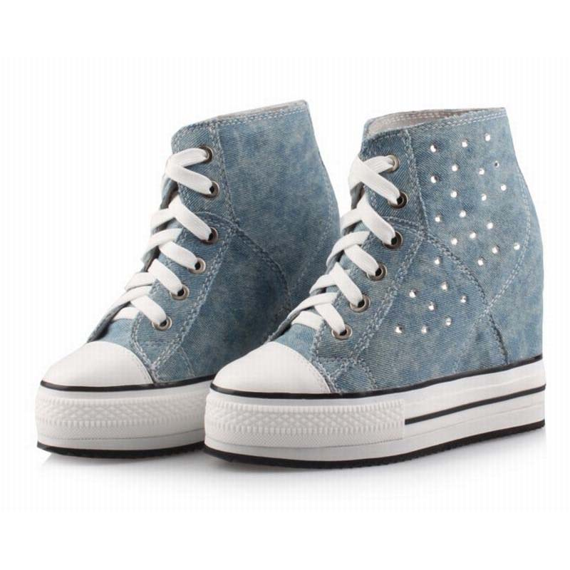 hot women thick bottom platform rhinestone denim height increasing casual shoes wedges elevator high top lace up canvas shoes