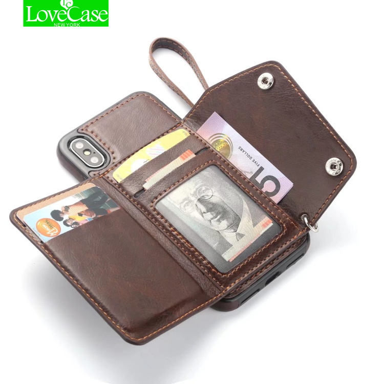 LoveCase Retro PU Leather Case For iPhone X IX Card Slot Holder Cover For iPhone X 10 8 Plus Luxury Protective Back Fundas