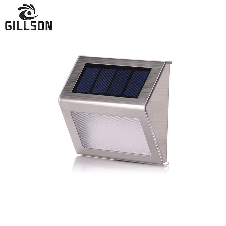 GILLSON  Stainless Steel LED Solar Light Outdoor Wall Lamp Pathway Garden Stair Decorated Warn White Energy Saving Solar Lamp