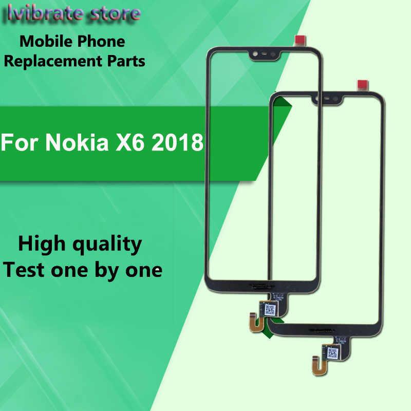لنوكيا X6 2018 LCD الجبهة محول الأرقام بشاشة تعمل بلمس الخارجي زجاج عدسة NokiaX6 X 6 تا-1099 لمس لوحة اللمس مع فليكس كابل