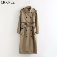 Women Casual Solid Color Double Breasted Outwear Sashes Office Coat Chic Epaulet Design Long Trench CRRIFLZ Autumn Collection