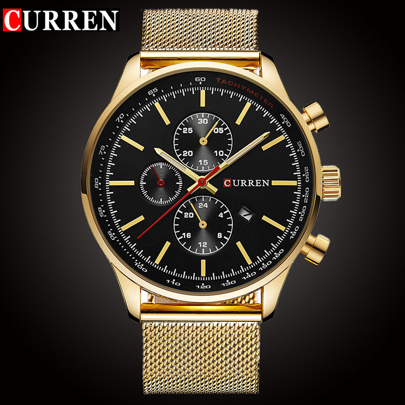 CURREN Luxury Brand Quartz Watch Herr Sport Casual Business Rostfritt Stål Mesh Band Quartz-Watch Fashion Guldklocka Man Datum