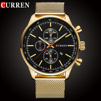 CURREN Luxury Brand Quartz Watch Men S Sport Casual Business Stainless Steel Mesh Band Quartz Watch