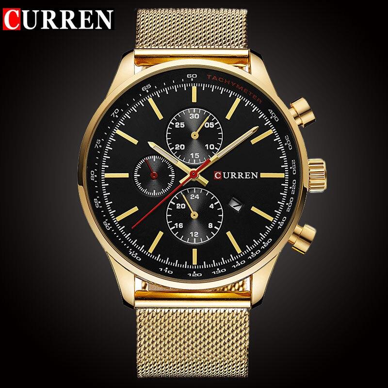 Reloj de cuarzo de marca de lujo CURREN para hombre, reloj deportivo informal de acero inoxidable, reloj de cuarzo, reloj de moda, reloj de oro, fecha masculina