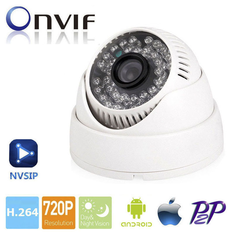 H.264 3.6mm Lens 1MP Dome IP Camera P2P Onvif IP Camera 720P HD CCTV Camera 1.0Mp Indoor Night Version Network IP Camera NVSIP 4pcs lot 960p indoor night version ir dome camera 4 in1 camera 3 6mm lens p2p onvif abs plastic housing