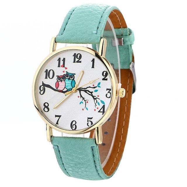 Hot SellingWomen Watch Cute Owl Pattern Neutral Fashion Leather Quartz Wrist Wat
