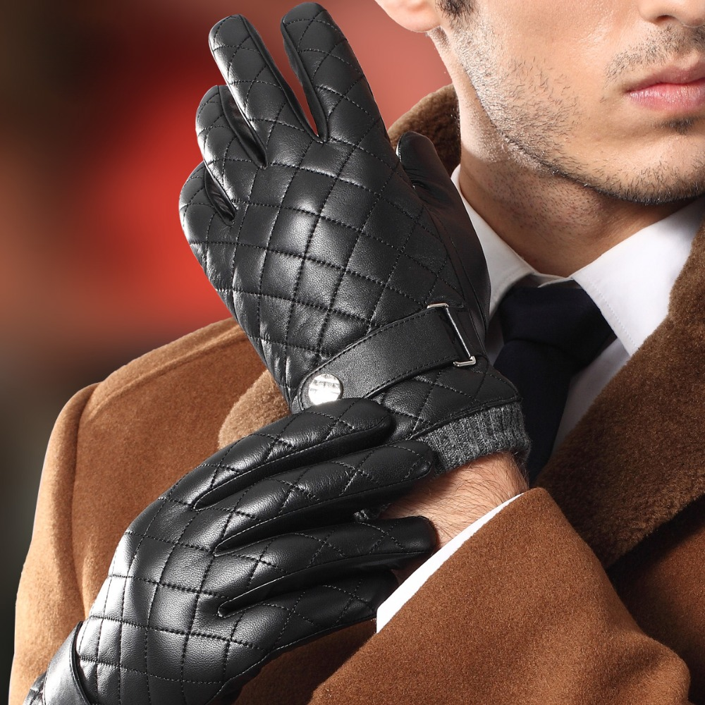 2020 NEW Genuine Leather Gloves Male Fashion Plaid Men Sheepskin Gloves Autumn Winter Warm Plush Lined Driving Glove 9005