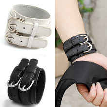 Fashion Double Belt 100% Real Leather Wrist Bracelet for Men and Women Buckle Punk High Quality Jewelry Male Female Gift XCJ0268(China)