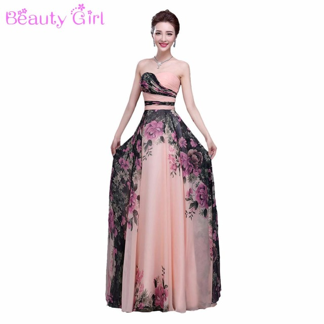 6c7ff80f8b829 3 Designs Stock One Shoulder Flower Pattern Floral Print Chiffon Evening  Dress Gown Party Long Prom dresses 2017
