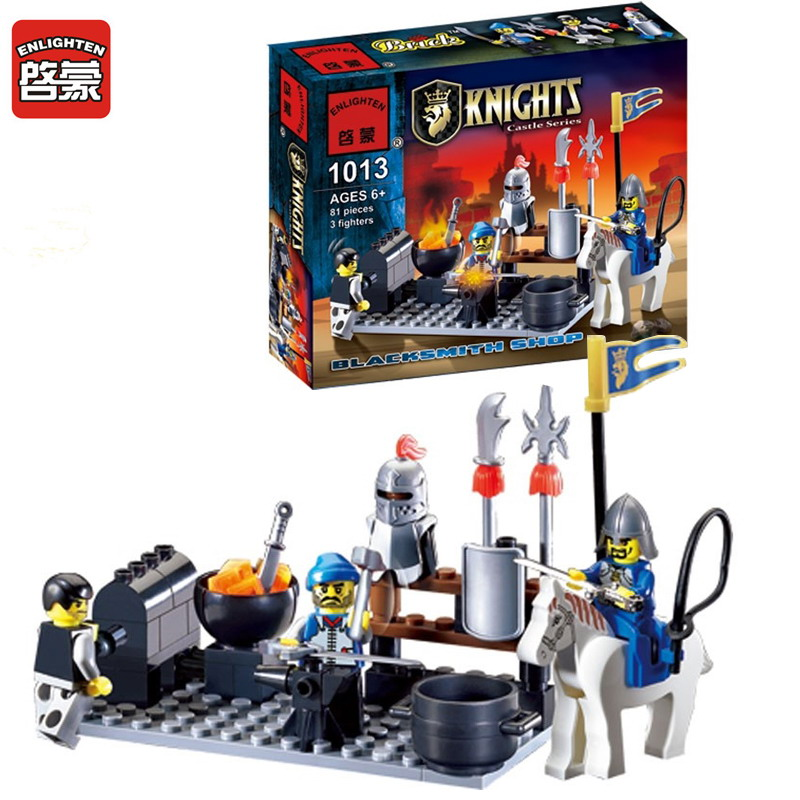 1013 ENLIGHTEN Knights Castle Series Blacksmith Shop Model Building Blocks Action DIY Figure Toys For Children Compatible Legoe enlighten 2314 war of glory castle knights shop model building block 368pcs educational toys for children compatible legoe