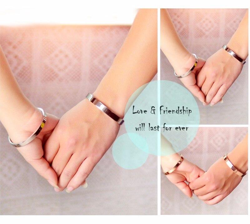 Luxury Lover Cuff Bracelets&Bangles Top Silver Color Brand Couples Simple Glaze Buckle Love Charm Bracelet For Women Or Men 16