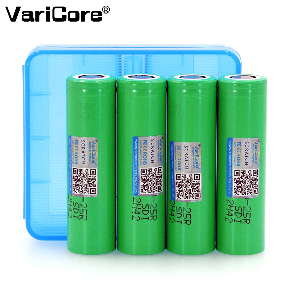 4PCS VariCore For Samsung New 18650 2500mAh Rechargeable battery 3.6V INR18650 25R 20A discharge batteries + Storage box image