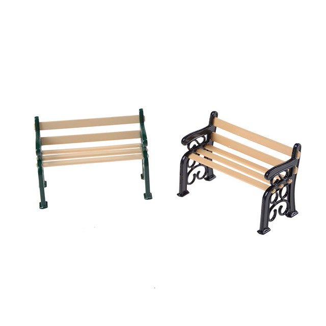 Wholesale 1:12 Wooden Bench Metal Dolls House Miniature Garden Furniture  Accessories