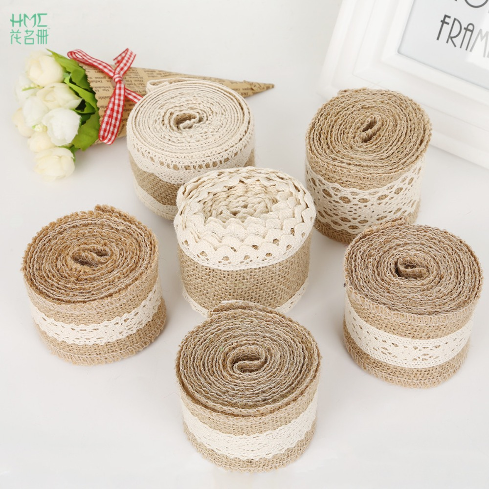 5-6cm 2m/roll Natural Jute Burlap Hessian Ribbon with Cotton Lace DIY Trim Fabric For Sewing Wedding Decoration Accessories