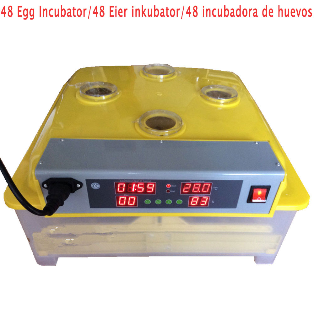 48 Eggs Automatic Egg Incubator Brooder Poultry Incubator Digital Automatic Turning Poultry Hatcher Temperature Control 1pc lot 48 eggs digital clear egg incubator hatcher automatic turning temperature control janoel8 48