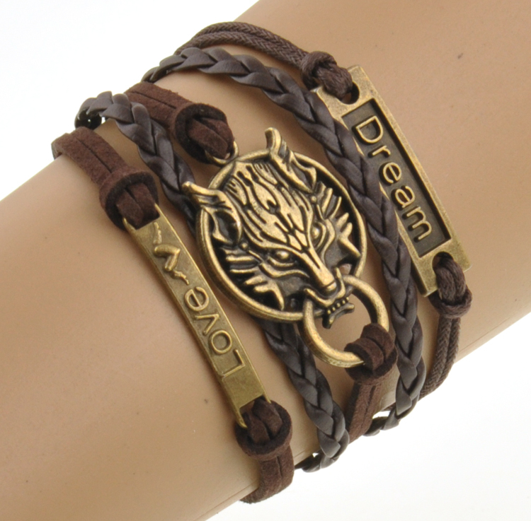 Charm Boho Wolf Style Brown Rope Chain Bracelet Mens