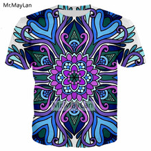 Mandala Flowers 3D Print Tshirt Men/women Casual Streetwear T shirt Symetrical Art Sublimation Tee T-shirt Boys Hipster Clothes женская футболка 2015 3d t tshirt t flowers