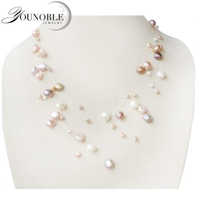 YouNoble Подлинной ожерелье натуральный жемчуг, мода многослойные ожерелье женщины свадьба девушка мать день рождения лучший подарок белый мульти