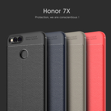 ФОТО for huawei honor 7x case silicone shockproof case cover luxury pu leather litchi pattern soft tpu case for huawei honor 7x
