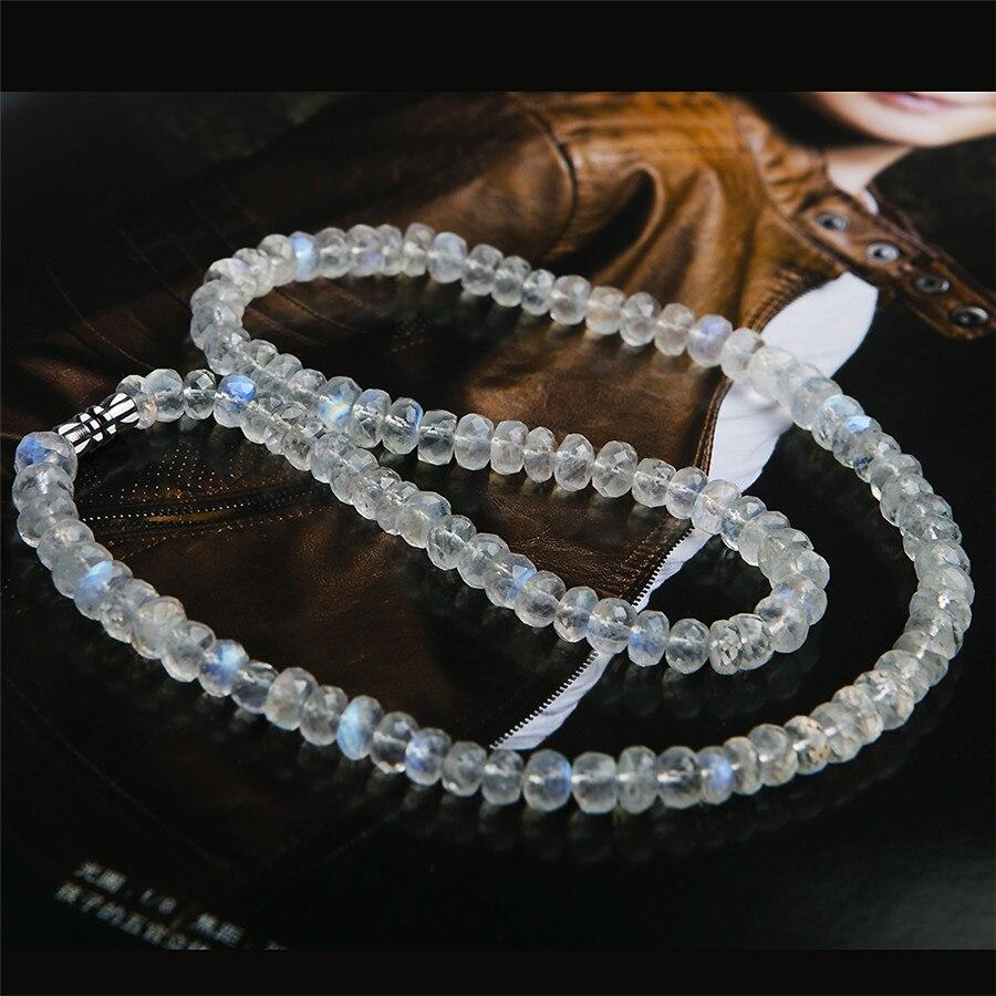 Genuine Natural Blue Light Moonstone Labradorite Gems Crystal Faced Abacus Bead Chokers Necklace 6mmGenuine Natural Blue Light Moonstone Labradorite Gems Crystal Faced Abacus Bead Chokers Necklace 6mm