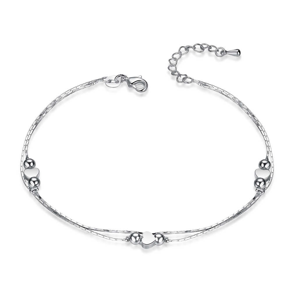 אופנה חדשה 925 כסף סטרלינג לב נשים שרשרת קרסול צמיד סנדל חוף רגל עכס מתנה 1PC משלוח חינם