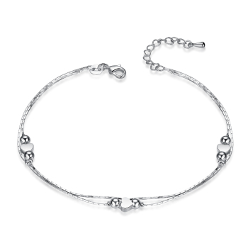Fashion New 925 Sterling Silver Heart Women Chain Ankle Bracelet Sandal Beach Foot Anklet Gift 1PC Free Shipping