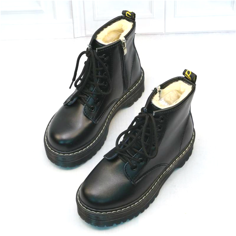 Women Martin Shoes Zippers Casual Boots Winter Warm Lace Up Women Ankle Boots