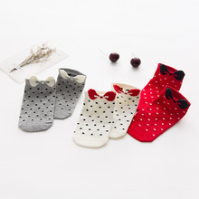 ChanJoyCC 3Pairs Children's Sock Spring Summer Child Cute Socks Baby Boys Girls Breathable Dot With Bow Tie Cotton Short Socks