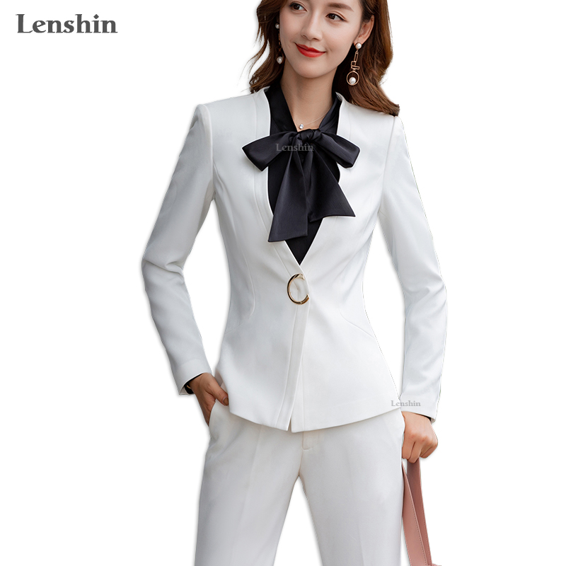 Lenshin 2 Pieces Set Formal Pant Suit For Women Work Wear Office Lady Uniform Style Business Jacket With Wide Leg Pants