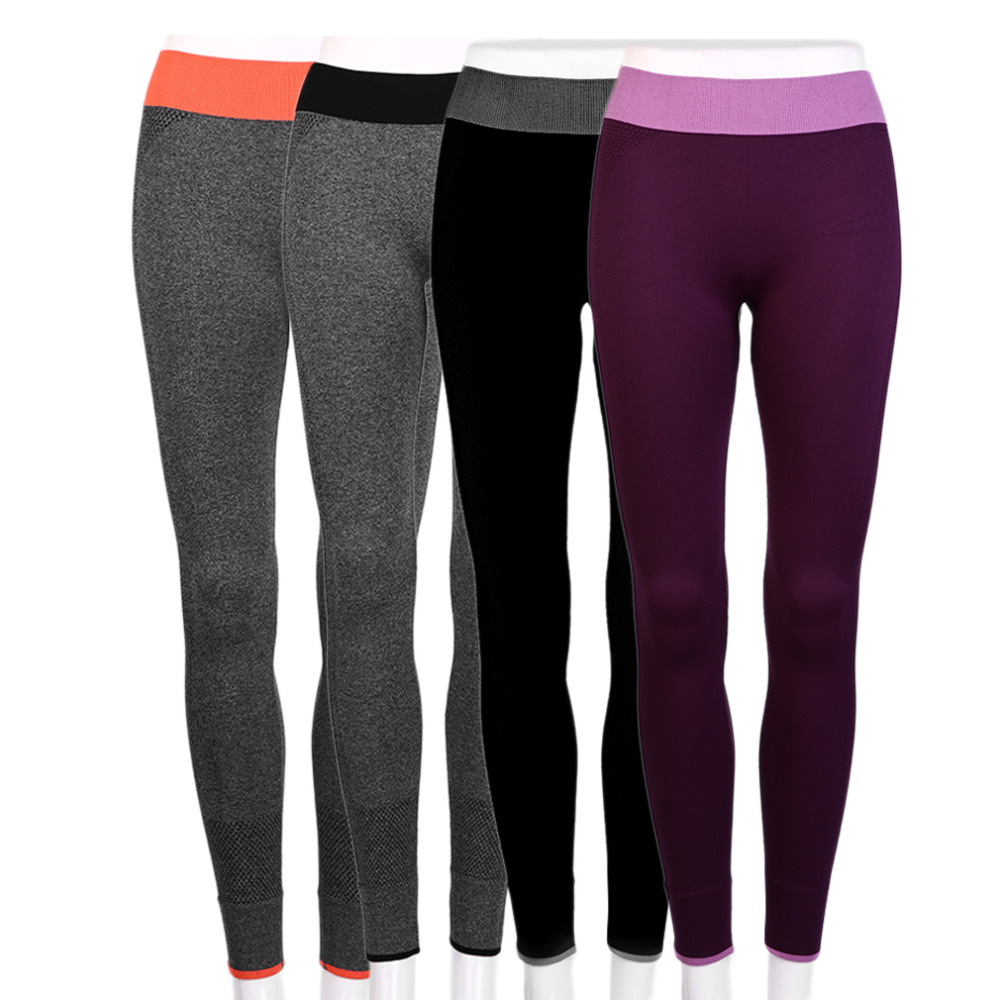 HW2016 Women Sports Cropped Pants Elastic Wicking Force Exercise Female Sports Elastic Fitness Running Trousers Slim Leggings