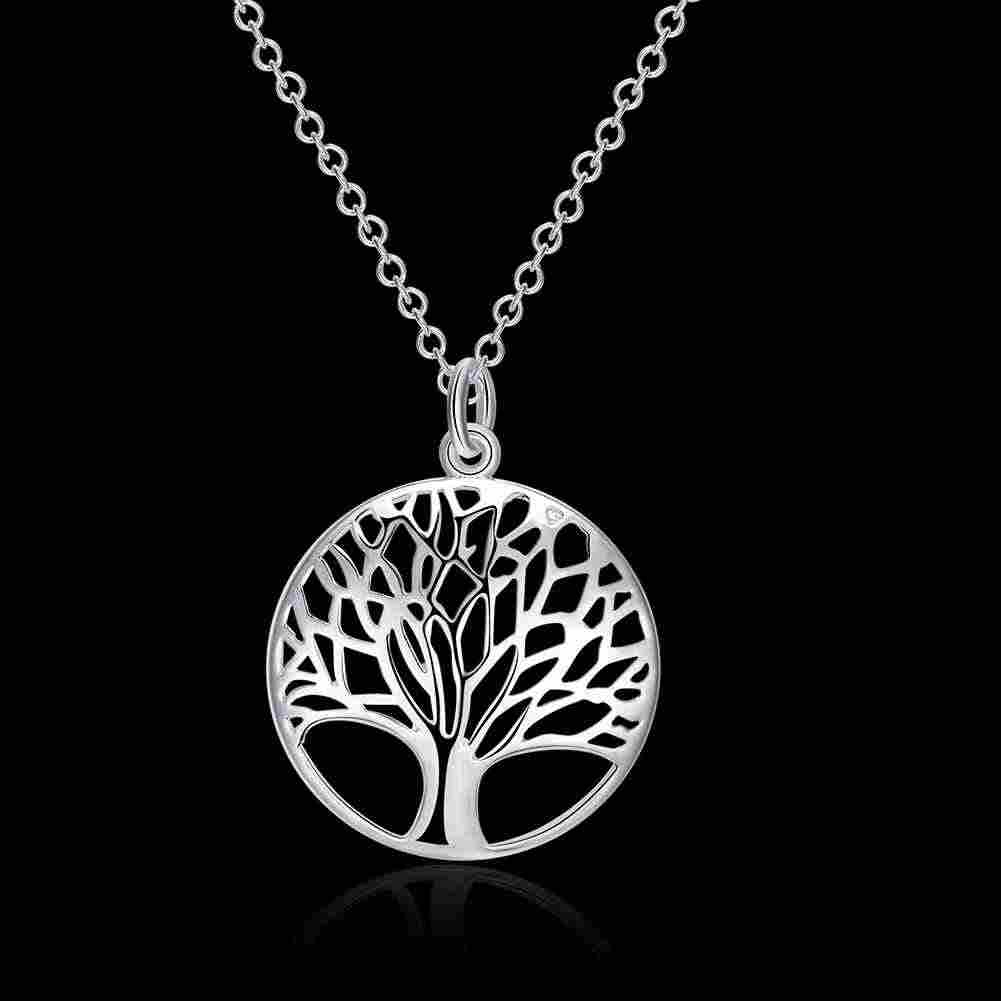 Lose Money Promotions! 925 jewelry silver color necklaces & pendants The tree of life collares populares joias SMTN802