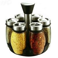 2017 New Salt And Pepper Cooking Tools Temperos Gold Cans Glass European Stainless Steel Seasoning Box