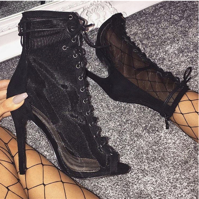 424420084f0 US $94.1 |New Sexy Thin High Heels Booties Sandals Mesh Clear Combat Peep  Toe Boots Runway Style Women Back Gladiator Lace Up Ankle Boots -in Women's  ...