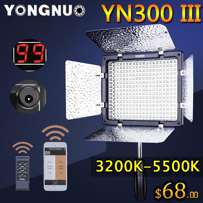Prix pour Bi-couleur yongnuo yn300 iii yn-300 lil 3200 k-5500 k pro led lumière vidéo pour sony canon nikon caméra caméscope