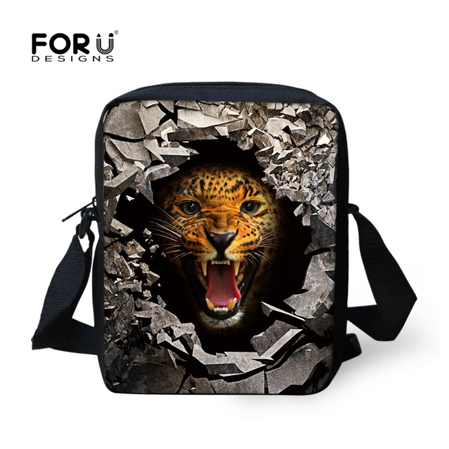 Mini Boys Messenger Bags Cool Animal Tiger Bear Lion Print Men S Crossbody Bag High Children Kids