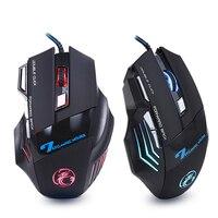 Профессиональный Проводная игровая Мышь 7 Кнопка 5500 Точек на дюйм светодиодный оптическая USB компьютера Мышь Gamer мыши X7 игры Мышь Silent Mause для ...