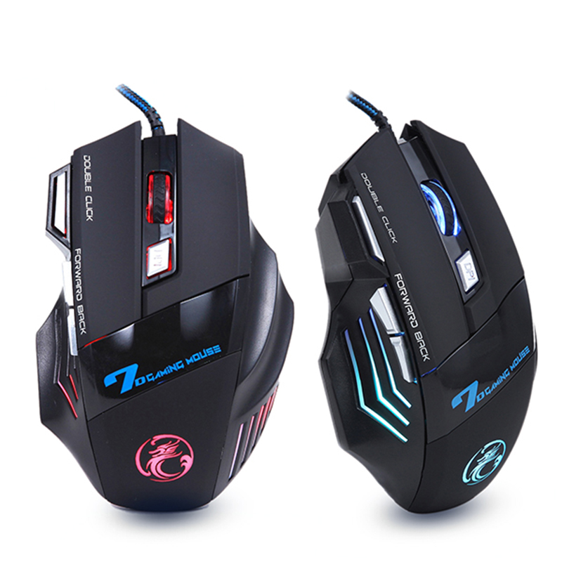Color : Black HUFAN V9 USB 7 Buttons 4000 DPI Wired Optical Colorful Backlight Gaming Mouse for Computer PC Laptop Black