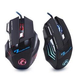 Ratón de Gaming con cable ergonómico 7 botones 5500 PPP LED USB ratón de ordenador ratón X7 Silent Mause con luz de fondo para PC portátil