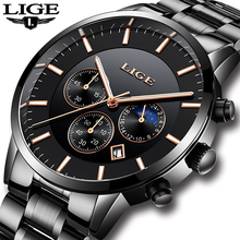 2019LIGE New Men Watch Date Stainless Steel Waterproof Wristwatches Mens Business Casual Quartz Watches For Man Clock Dress Gift