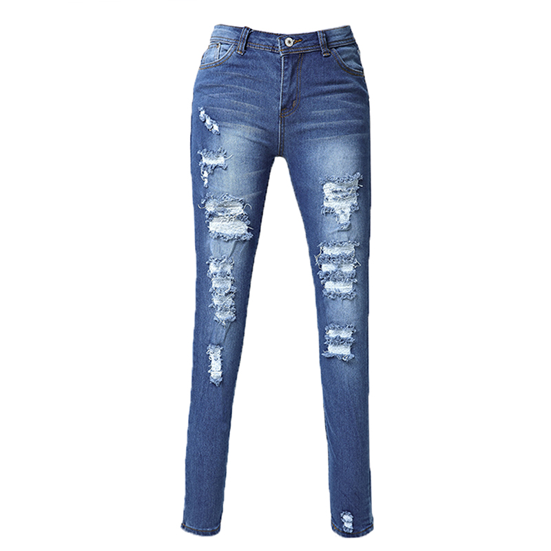 Womans Fashion Cotton Denim Pants Stretch Womens Bleach Ripped Skinny Jeans, Blue ...