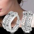 Dama de la moda 925 Sterling Silver Crystal Rhinestone Del Pendiente Del Aro