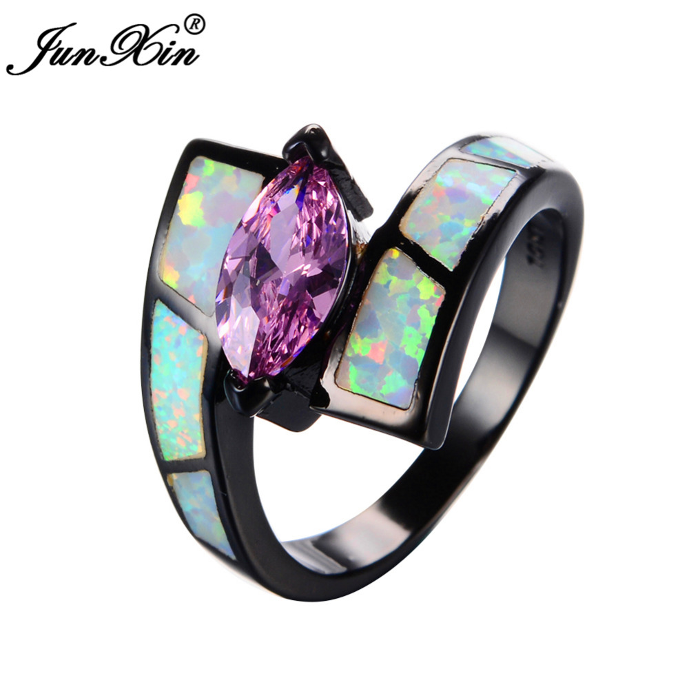 Junxin Bohemian Pink Zircon Female White Opal Ring Vintage Black Gold  Filled Wedding Engagement Rings For Women Fashion Jewelry