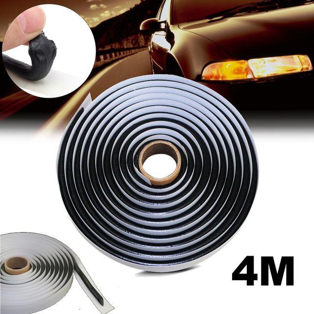 Mastic caoutchouc butyle noir de 4M | Mastic de caoutchouc butyle noir de voiture pour phare de voiture, bande refermable rétroadaptée