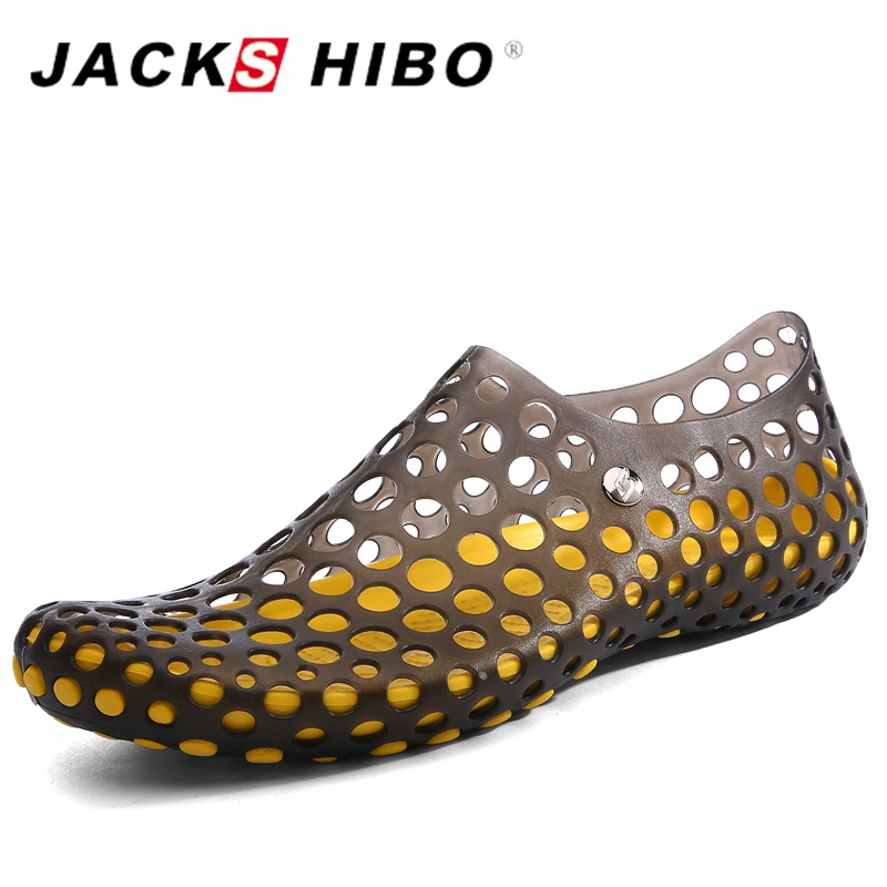 JACKSHIBO Fashion Men Slip on Water Shoes Summer Man Beach Sandals Comfortable and Quick Drying Zapatos Hombre Black Blue Green