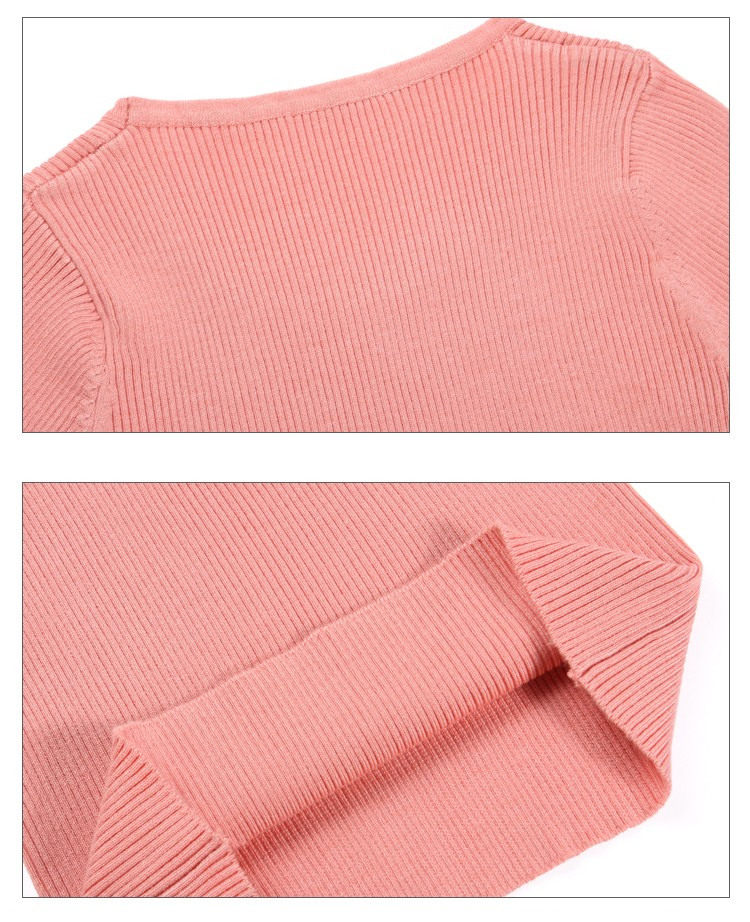 18 New Women Pullover Sweaters O-Neck Slim Bottoming Knitted Sweaters Fashion High Elastic Female Jumper Shirts Knitwear Tops 11