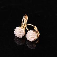 KISSWIFE 1 Pair New Fashion Jewelry Women Lady Elegant Simulation Pearl Beads Ear Stud Earrings Free shipping
