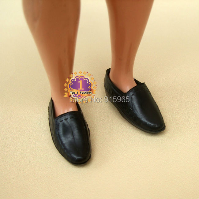 Free shipping 100 pairs/lot factory wholesales black shoes for 1/6 BJD doll Shoes for ken doll
