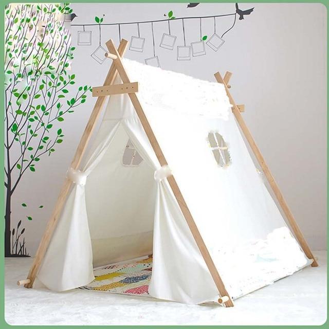 fc322c963 Encantador chico jugar Tienda Blanco tela tipi niños cama carpa interior para  niños jugar casa